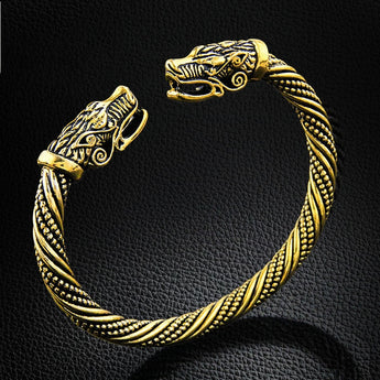 Wolf Head Viking Bracelet Gold