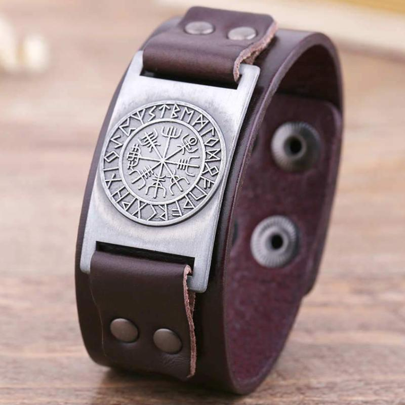 Vegvisir Leather Bracelet Brown Silver