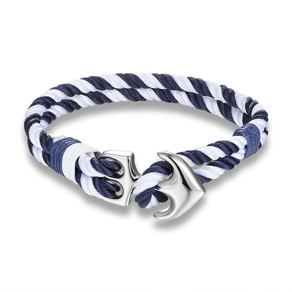 Nautical Anchor Bracelet White Blue