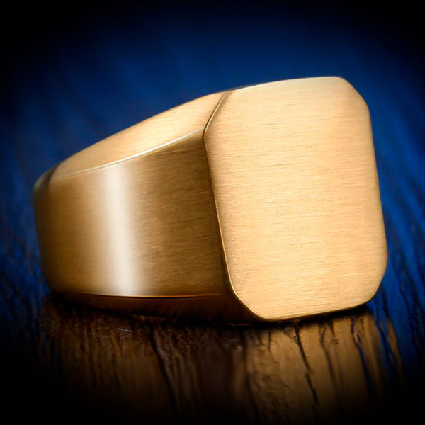 Square Brushed Ring Gold