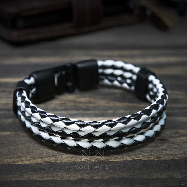 Braided Trio Bracelet Black White