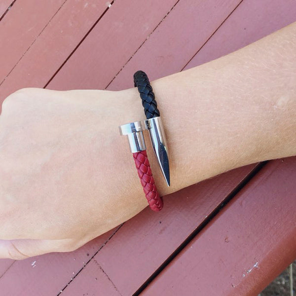 Magnetic Ends Leather Bracelet Silver