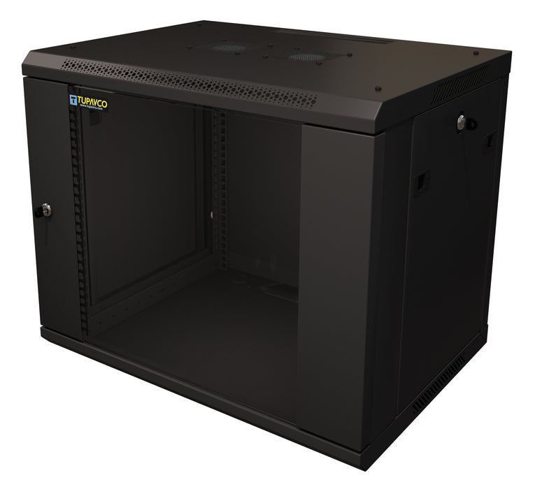 "9U Server Rack Cabinet 19"" - Vent Fans - Lockable Glass Door - Steel Frame - Lockable Removable Sides"