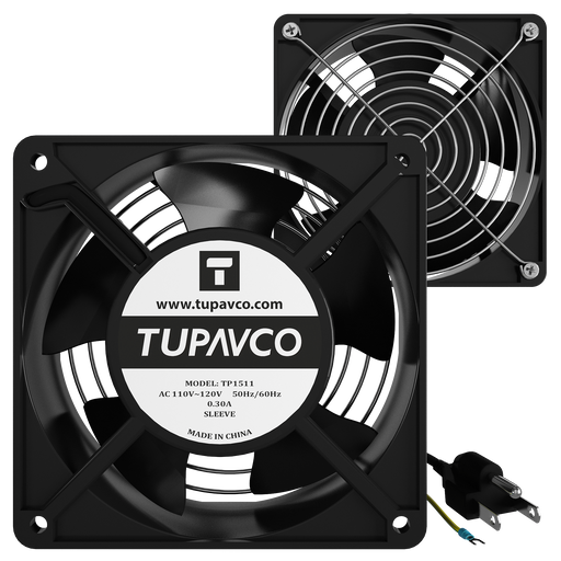 Network Cabinet Fan Pair for Server Rack Cooling 120mm 4in Steel Frame Ventilation 110V AC