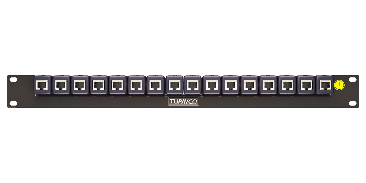 "Rack Mount Rail Panel 19"" with 16x DIN Ethernet Surge Protectors GbE PoE+ Gigabit 1000Mbs"