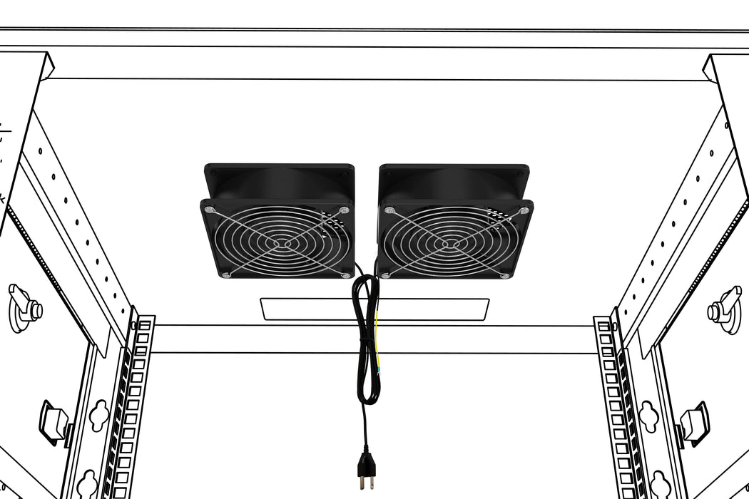 Network Cabinet Fan Kit 2pc Muffin Server Rack Cooling -Top/Side Mount