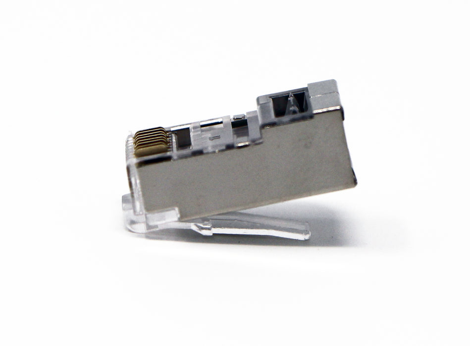 Shielded CAT6 RJ45 Crimp Connector (100 Pack Bag) 8P8C STP Ethernet Network Cable Plug