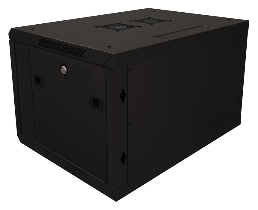 "6U Server Rack Cabinet 19"" - Vent Fans - Lockable Glass Door - Steel Frame - Lockable Removable Sides"