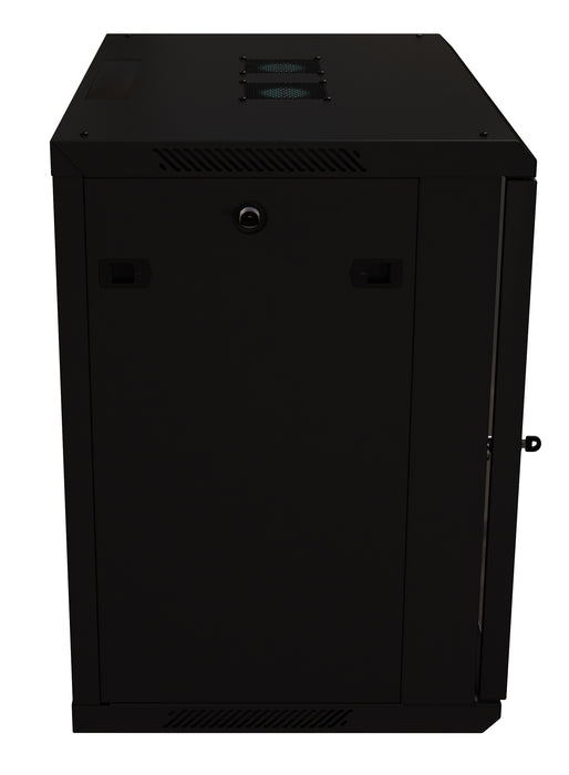 "12U Server Rack Cabinet 19"" - Vent Fans - Lockable Glass Door - Steel Frame - Lockable Removable Sides"