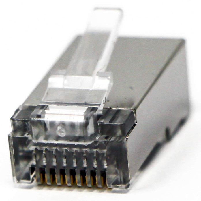 Shielded RJ45 CAT5 CAT5E Crimp Connector (100 Pack Bag) 8P8C STP Ethernet Network Cable Plug