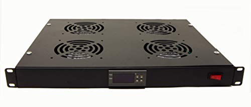 "Tupavco 1U 19"" Rack Mount Fan - 4 Fans Server Cooling System - Heat Monitor Display"