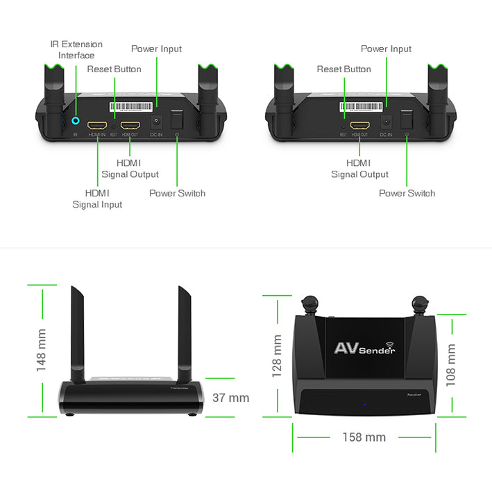 Wireless HDMI Transmitter and Receiver HD Extender Kit Dual Band 1080P Video/Audio/IR Signal Extension