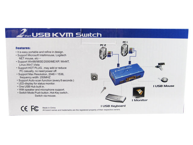 KVM Switch 2 Port Automatic Splitter w VGA/Audio/USB Cables 2048×1536 Auto Ports