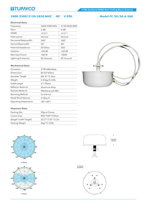 MIMO Ceiling Antenna 2.4GHz/5.8GHz 6dBi 3x RP-SMA Dual Band