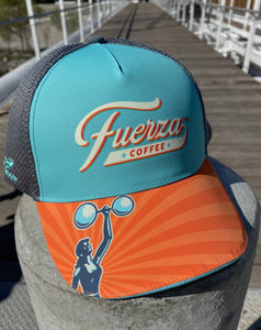 Front of hat with Fuerza logos.