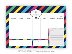 Planner de mesa semanal stripes kate - Flavia do C S Toledo