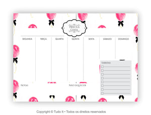 Planner de mesa semanal party - arquivo digital - Flavia do C S Toledo