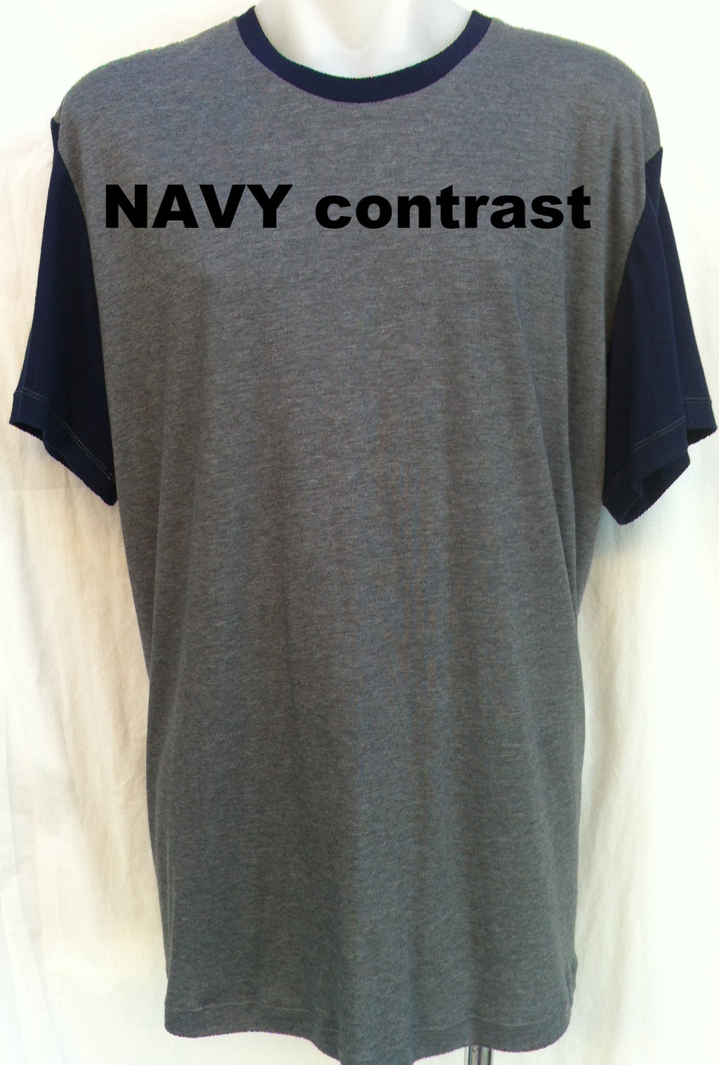 Sleep Tee - Short  Sleeves - CHARCOAL with CONTRAST SLEEVES - Adaptive Fitz Clothing