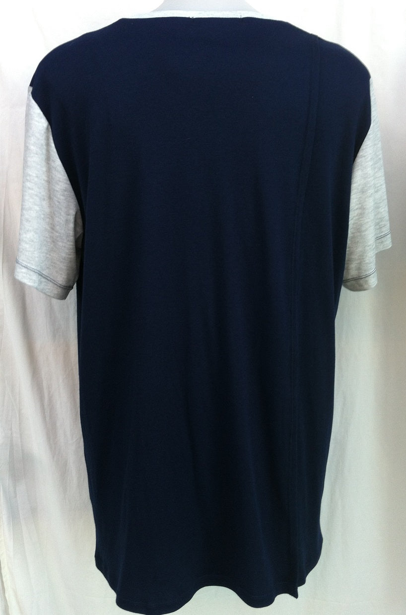 Sleep Tee - Short  Sleeves - NAVY with CONTRAST SLEEVES - Adaptive Fitz Clothing