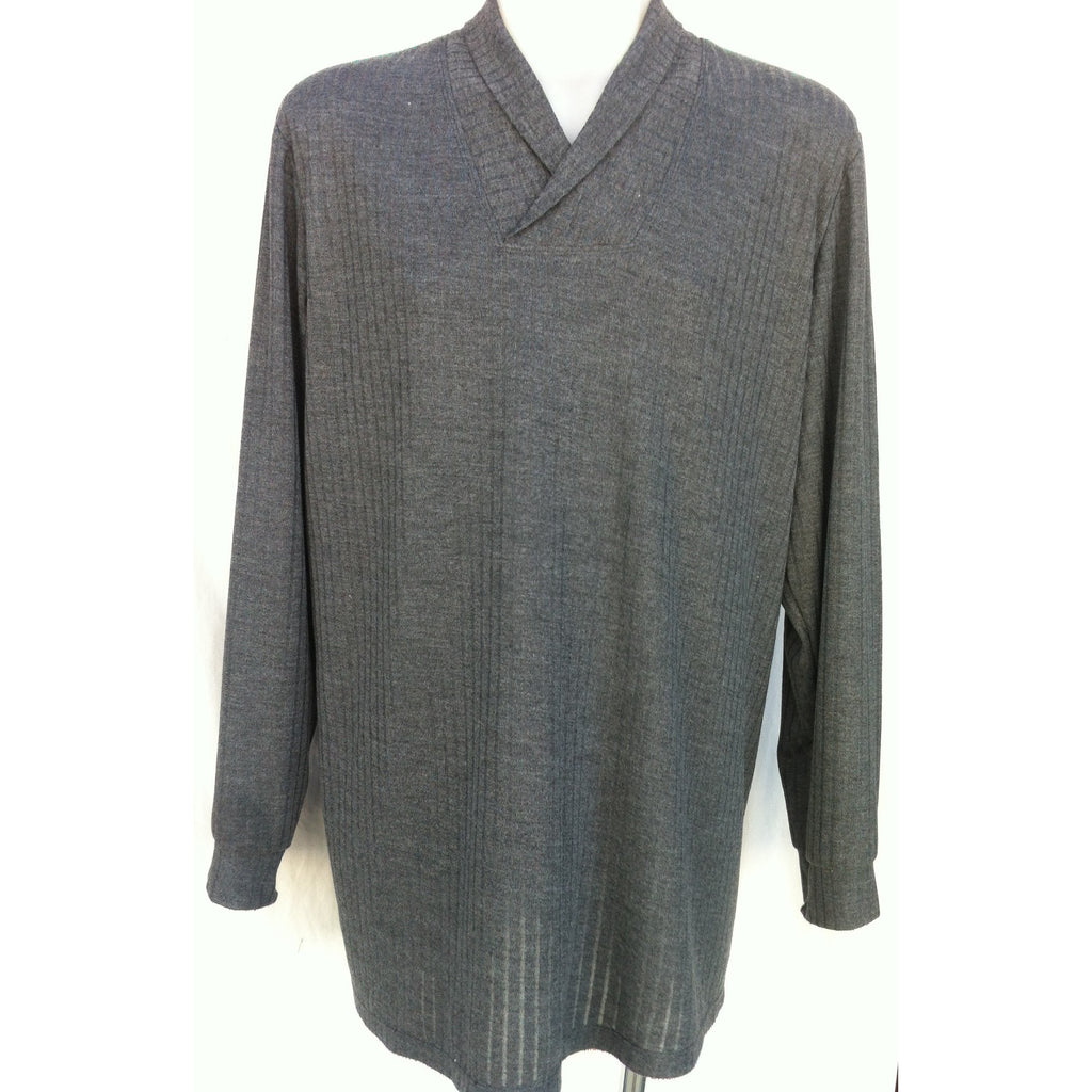 Men's Roll Collar Long Sleeve Top - CHARCOAL - Adaptive Fitz Clothing