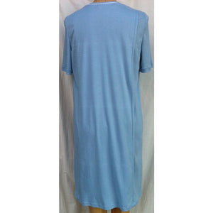 (L6) Ladies Nightie - Short  Sleeves - POWDER BLUE with Blue & White Neck Band - Adaptive Fitz Clothing