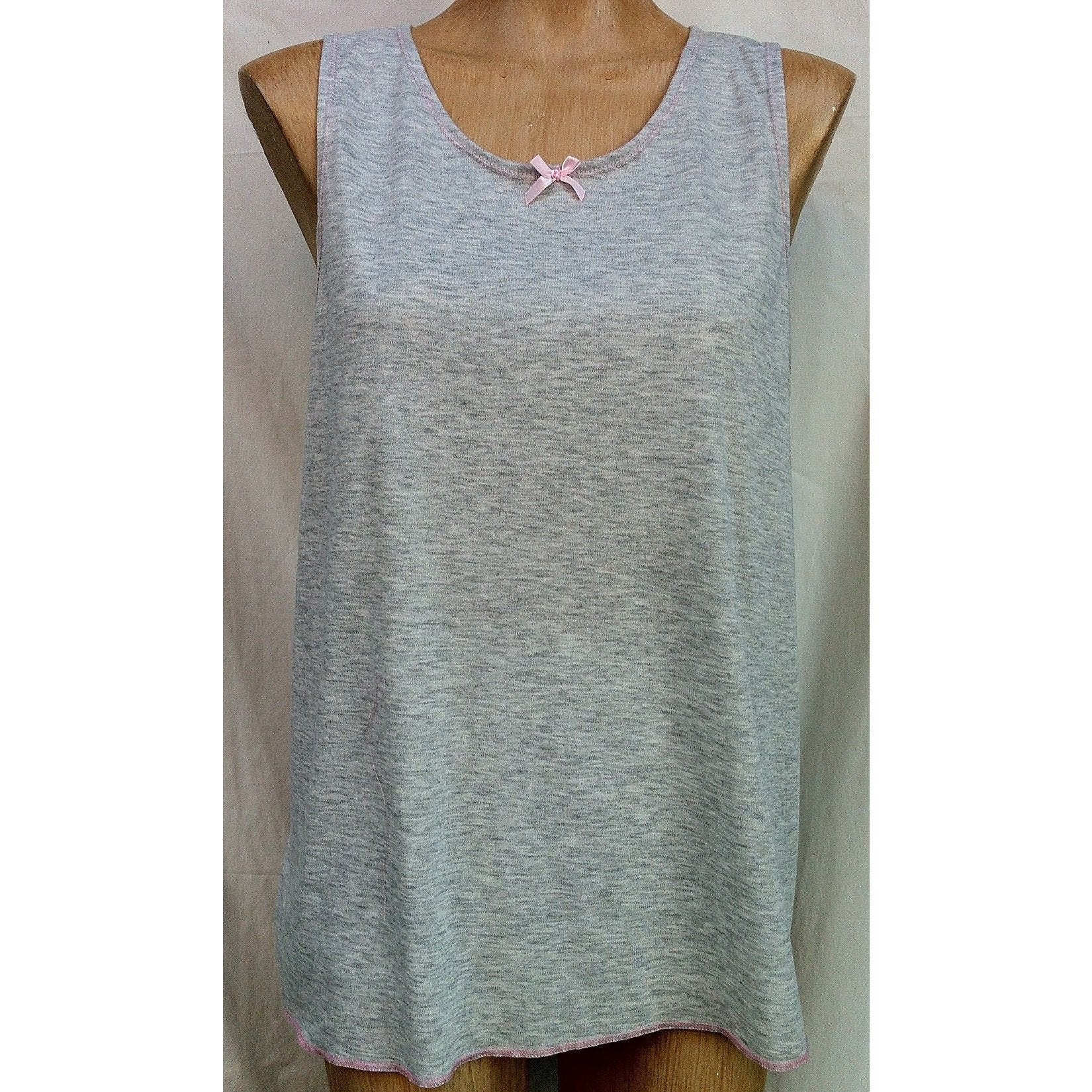 (L1) Ladies SINGLET - MARLE GREY with Pink Trim - Adaptive Fitz Clothing
