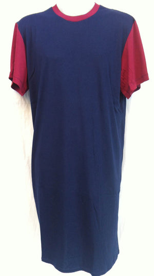 Night Shirt - Short  Sleeves - NAVY with CONTRAST SLEEVES - Adaptive Fitz Clothing