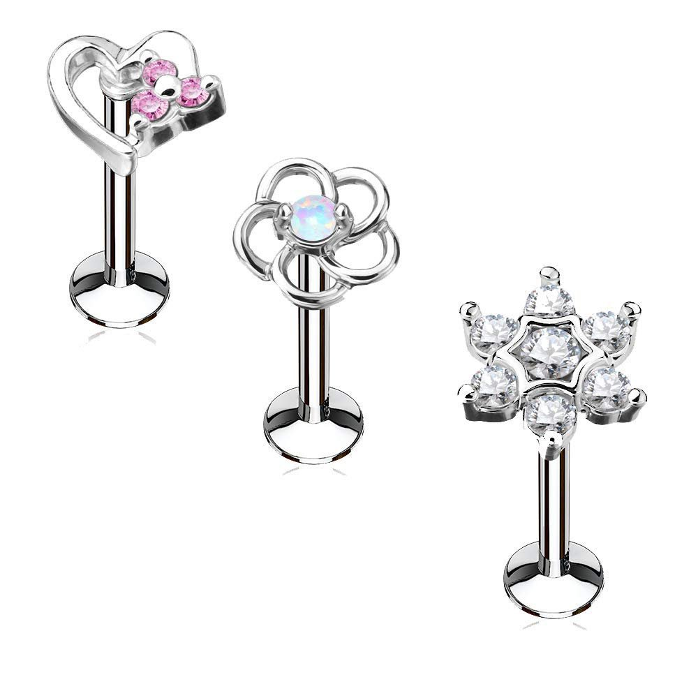 El Morro Labret Body Piercing Jewelry Bioflex Internal Labret With Jeweled Surgical Steel Attachment 16g