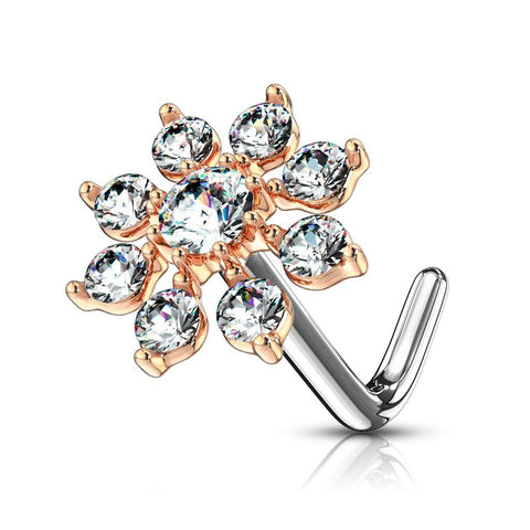 """/""""L/"""" bend Nose Stud Ring Heart Top 20g 0.8mm 2 pieces 316L Surgical Steel"""