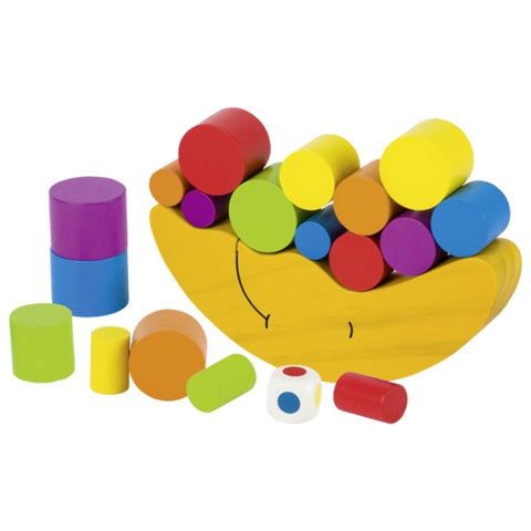 This game consists of a wooden moon and 20 brightly coloured pieces. The aim of the game is to try to balance as many pieces on the moon as possible.