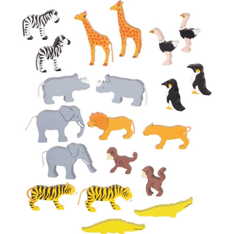 A set of 20 painted wooden African animals. It consists of 10 pairs of animals, including elephants, giraffes, lions, crocodiles, zebras, rhinos and penguins.