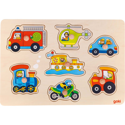 Goki Lift-out Puzzle - Means of Transport-Toy-Rockaway Toys