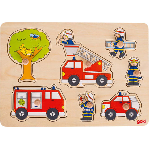 Goki Lift-out Puzzle - Firefighters in Action-Toy-Rockaway Toys