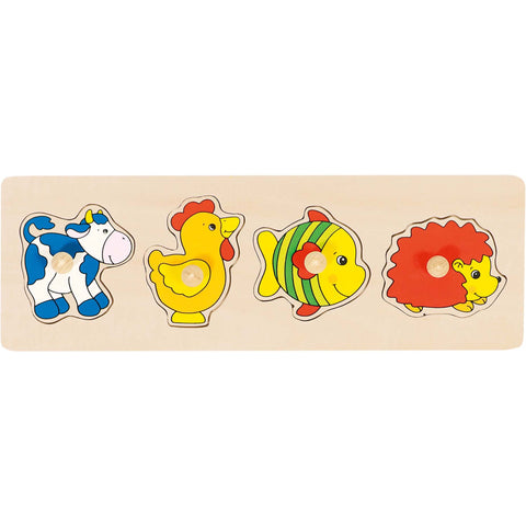 Goki Lift-out Puzzle - Cow, Rooster, Fish and Hedgehog-Toy-Rockaway Toys