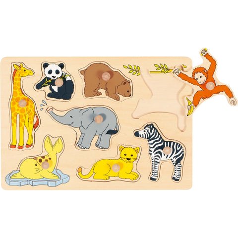 Goki Lift-out Puzzle - Wild Baby Animals-Toy-Rockaway Toys