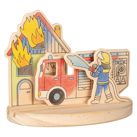 Goki Wooden Colouring Picture -  Fire Engines