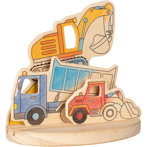 Goki Wooden Colouring Picture -  Construction Vehicles