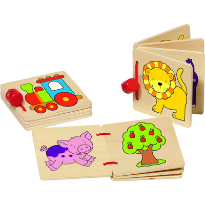 Goki Wooden Picture Books (Set of 3)-Toy-Rockaway Toys