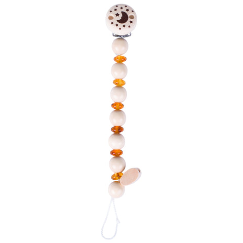 Dummy chain with a clip at the top, alternate wooden and amber beads and a loop at the bottom to attach the dummy.