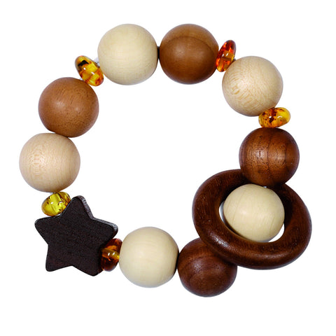 Wooden clutching toy, with wooden and amber beads.