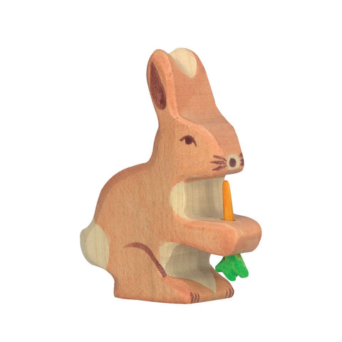 Holztiger Hare with Carrot-Toy-Rockaway Toys