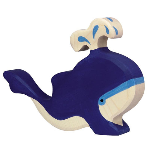 Holztiger Blue Whale with Water Fountain-Toy-Rockaway Toys