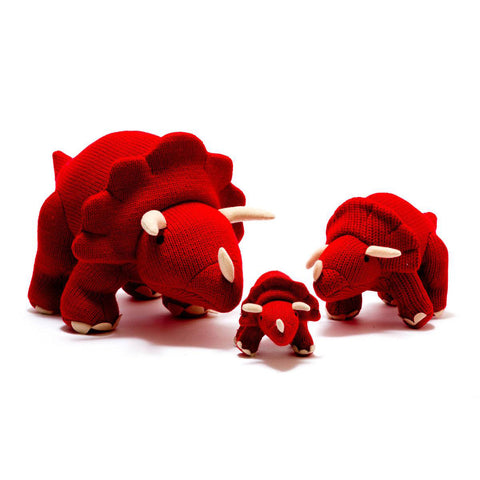 Best Years Ltd Knitted Triceratops Dinosaur Toy - Red