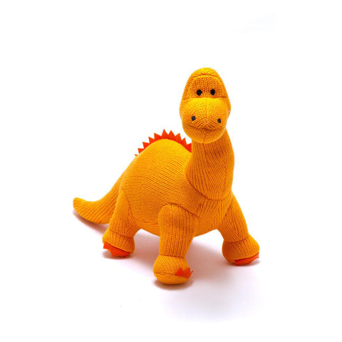 Best Years Ltd Knitted Diplodocus Dinosaur Toy - Orange