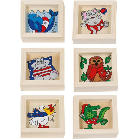 Goki Game of Skill Animals, Ball Bearing Puzzles- Pack of 6