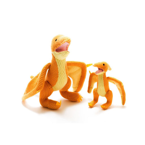 Best Years Ltd Knitted Pterodactyl Dinosaur Toy - Yellow