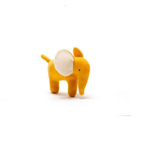 Organic cotton knitted little elephant toy in mustard