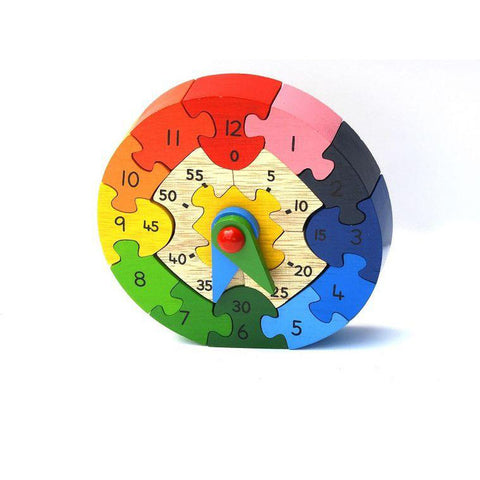 Fair trade handmade wooden clock toy puzzle