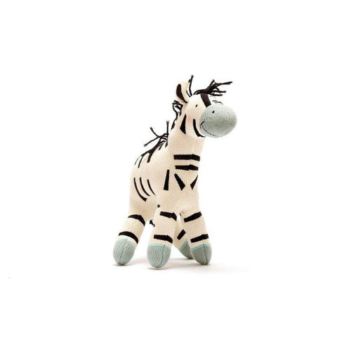 Organic cotton knitted small zebra toy