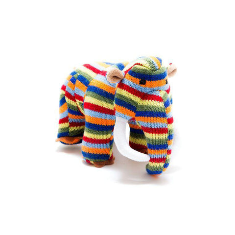 Knitted Bright Stripe Woolly Mammoth Dinosaur Toy